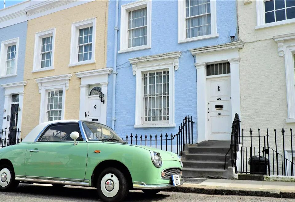Colorful houses and car in Fulham, London